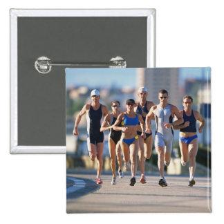 Triathloners Running 5 15 Cm Square Badge