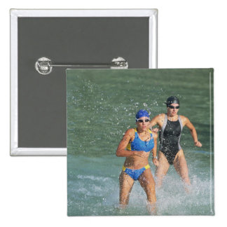 Triathloners Running out of Water 15 Cm Square Badge