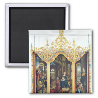 Triptych of the Adoration of the Infant Christ Square Magnet