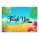 Tropical Beach Pink Hibiscus Thank You Note Card