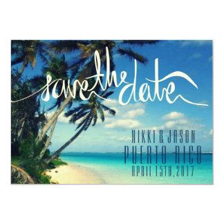 Tropical Beach Puerto Rico Wedding Save the Date 13 Cm X 18 Cm Invitation Card