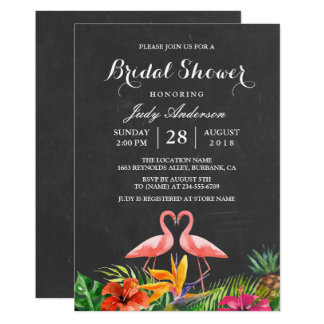 Tropical Bridal Shower Floral Chalkboard Flamingo 13 Cm X 18 Cm Invitation Card