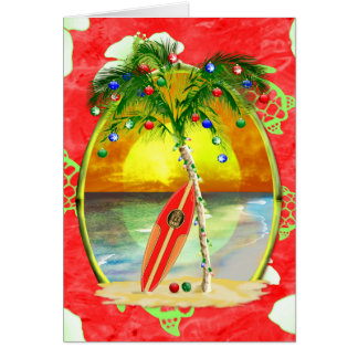 Tropical Christmas Palm Tree Greeting Card
