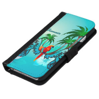 Tropical design with parrot and flowers iPhone 6 wallet case