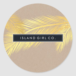 TROPICAL PALM FRONDS cute gold foil bold kraft Round Sticker