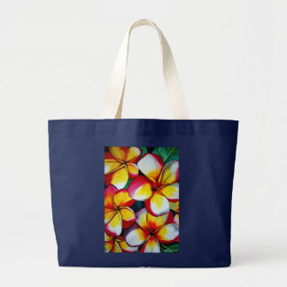 Tropical Yellow Frangipani flower original art Jumbo Tote Bag
