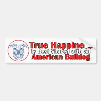True Happiness with an American Bulldog Bumper Sticker