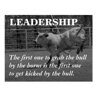 True leaders seize the bull by the horns postcard