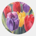 Tulip rainbow round sticker