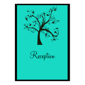 Turquoise & Black Stylized Tree Wedding Pack Of Chubby Business Cards