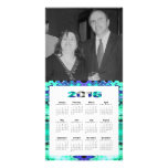 Turquoise blue 2016 yearly calendar customized photo card