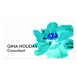 turquoise blue flower business card