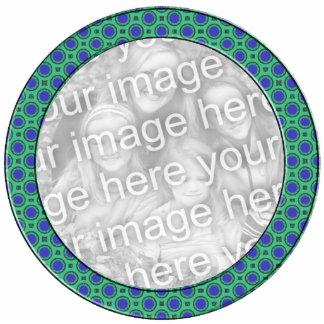 turquoise blue mod dots mod photoframe standing photo sculpture