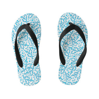 Turquoise Blue Music Notes Pattern Flip Flops Thongs