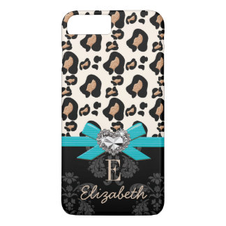 Turquoise Bow Heart Shaped Faux Bling Leopard iPhone 7 Plus Case