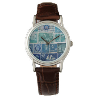 Turquoise-Brown Watch, Postage Stamp Collage Art Wristwatches