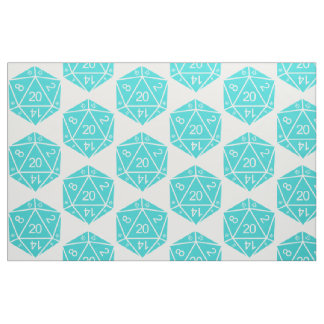 Turquoise D20 Dice Fabric
