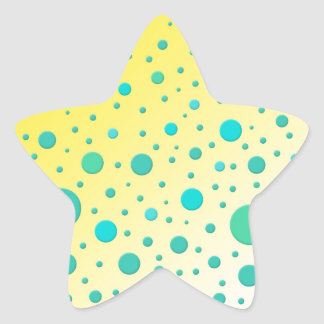 Turquoise Dots on Yellow Modern Design Star Sticker