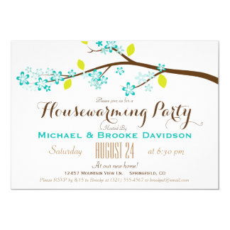 Turquoise, Lime Green, Brown Housewarming Party 13 Cm X 18 Cm Invitation Card
