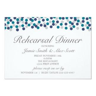 Turquoise Navy Gray Polka Dot Rehearsal Dinner 13 Cm X 18 Cm Invitation Card