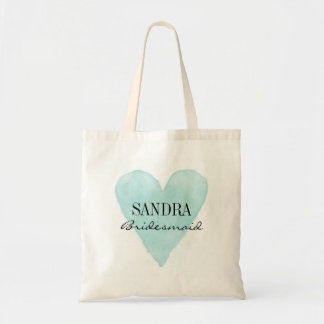 Turquoise watercolor heart bridesmaid tote bags