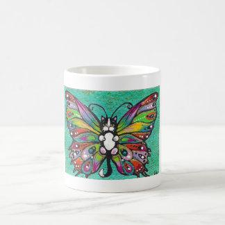 Tuxedo Catterfly Cat/Butterfly Whimsical Fantasy! Basic White Mug