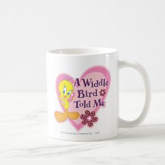 """Tweety """"A Widdle Bird Told Me"""" Basic White Mug"""