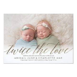 Twice the Love Foil Twin Photo Birth Announcement