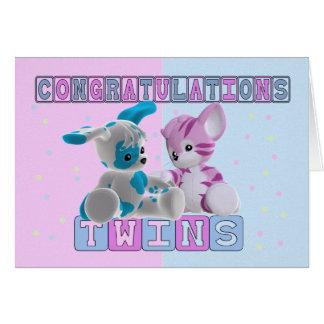 Twin Baby Congratulations Card