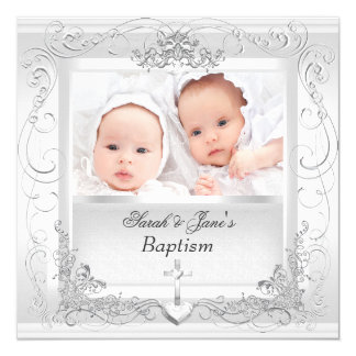 Twin Baby Girl Boy Christening Baptism White 13 Cm X 13 Cm Square Invitation Card