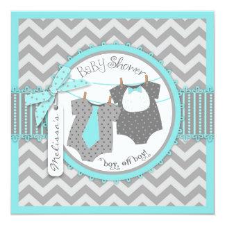 Twin Boys Tie Bow Tie Chevron Print Baby Shower 13 Cm X 13 Cm Square Invitation Card