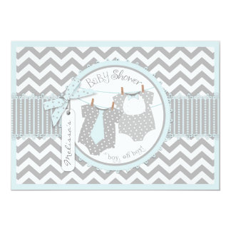 Twin Boys Tie Bow Tie Chevron Print Baby Shower 13 Cm X 18 Cm Invitation Card