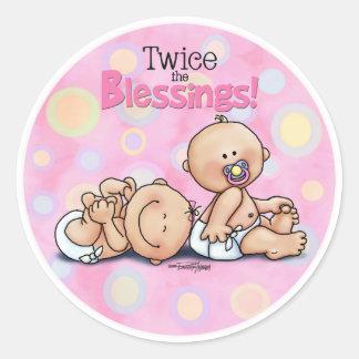 Twin GIRLS Round Sticker