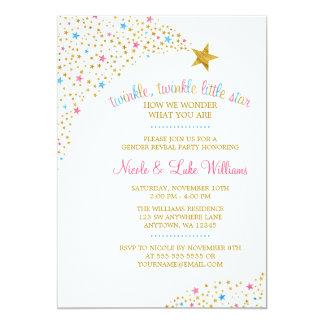 Twinkle Little Star Gender Reveal Baby Shower 13 Cm X 18 Cm Invitation Card