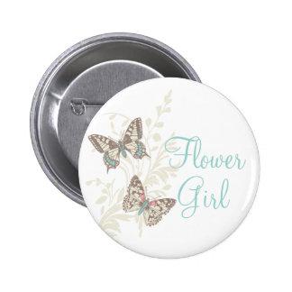 Two butterflies flower girl wedding pin / button
