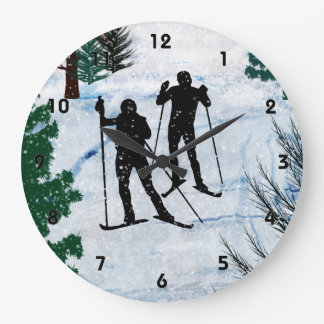 Two Cross Country Skiers in Snow Squall Wallclocks