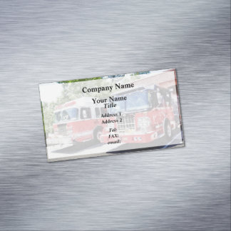 Two Fire Engines in Front of Firehouse Magnetic Business Cards