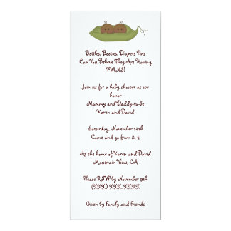 Two Peas in a Pod 10 Cm X 24 Cm Invitation Card