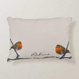 """Two Red Robins Personalized Pillow 16""""x12"""" Accent Cushion"""