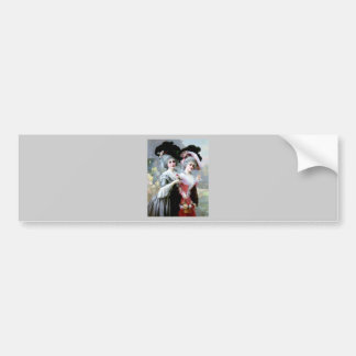 Two Victorian Ladies with Roses painting Bumper Sticker