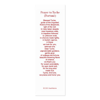 Tyche (Fortune) Prayer Card Pack Of Skinny Business Cards
