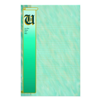 "U Initial ""Teal Wind"" Initial Fine Lined Customised Stationery"