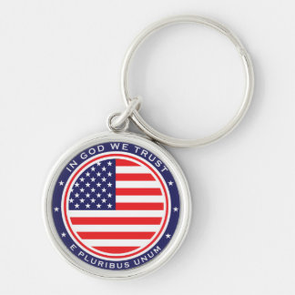 U.S. Flag & Mottos Silver-Colored Round Key Ring