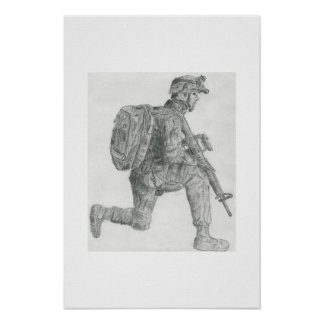 U.S. soldier resting Poster