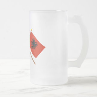 UK and Albania Crossed Flags Frosted Glass Mug