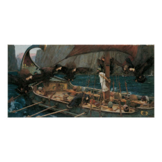 Ulysses and the Sirens by JW Waterhouse Poster