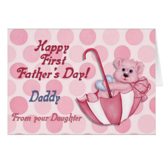 Umbrella Bear Pink - First Fathers Day Greeting Card