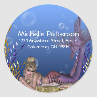Under the Sea Blonde Mermaid Return Address Labels Round Sticker