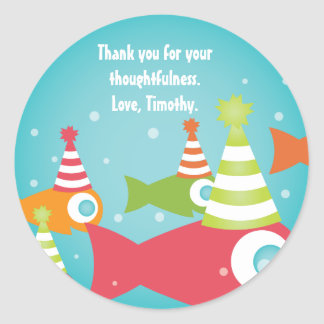 Under the Sea Fishes Birthday Thank You Stickers