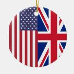 Union Jack And United States of America Flags Round Ceramic Decoration